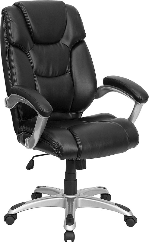 Flash Furniture GO-931H-BK-GG Black Leather Executive Office Chair