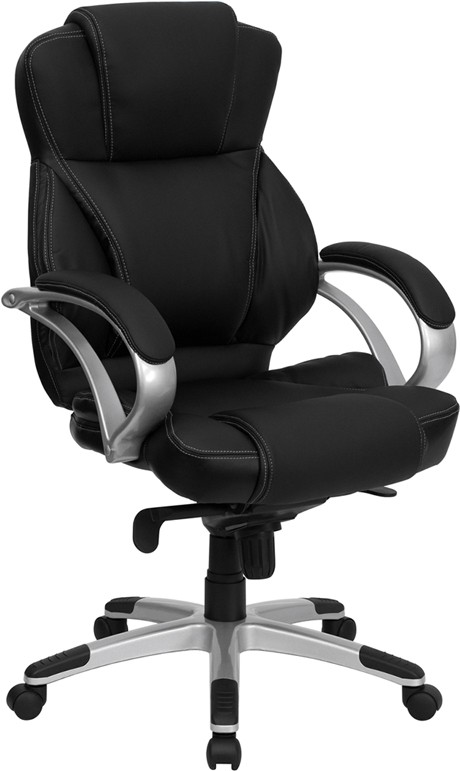 Flash Furniture H-9626L-2-GG Black Leather Office Chair- Deluxe