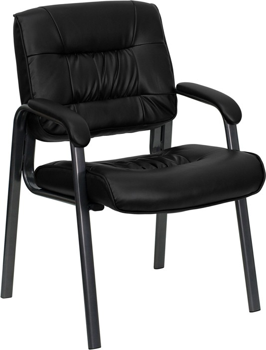 Black Leather Executive Side Chair with Titanium Finish