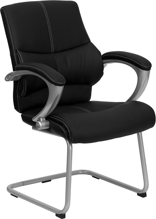 Flash Furniture H-9637L-3-SIDE-GG Black Leather Executive Side Chair