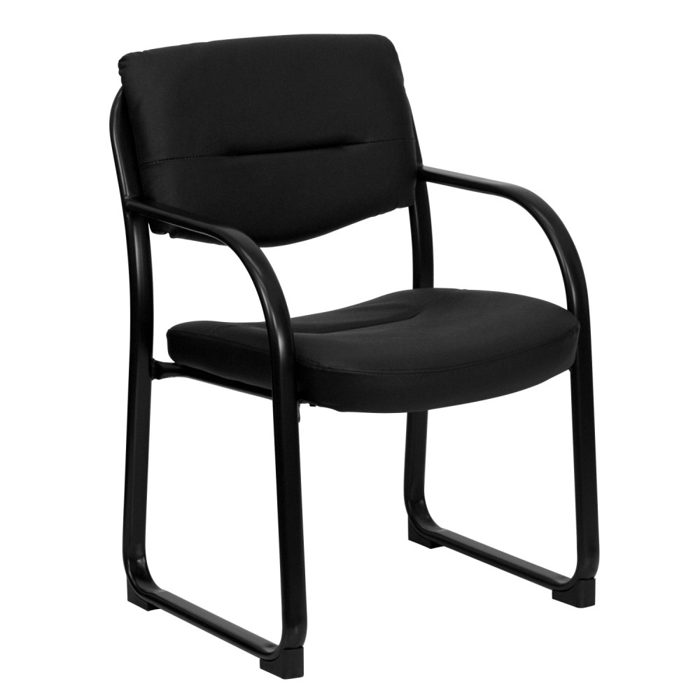 Flash Furniture BT-510-LEA-BK-GG Black Leather Executive Side Chair Sled Base