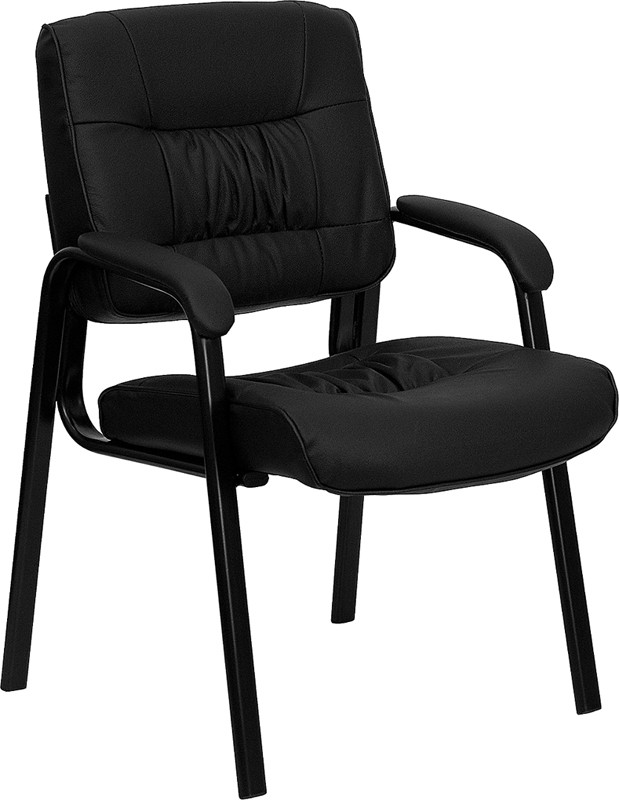 Flash Furniture BT-1404-GG Black Leather Guest Chair/Reception Chair