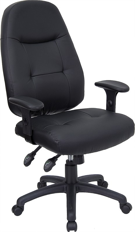 Black Leather High Back Executive Office Chair W / Ar,m Rest
