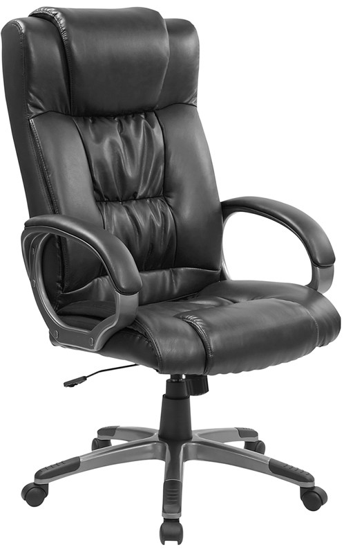 Black Leather High Back Executive Office Chair w / arm rest