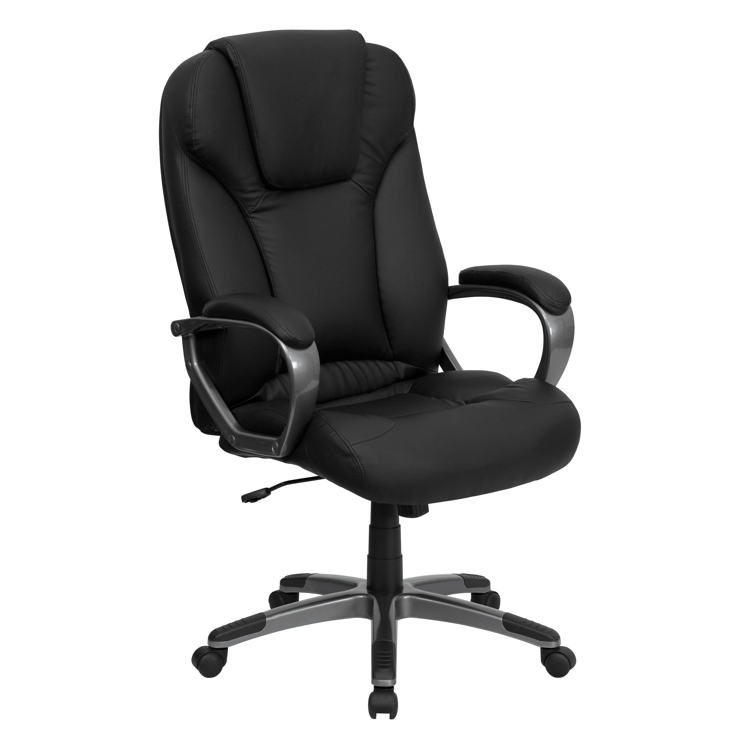 Flash Furniture BT-9066-BK-GG Black Leather High Back Executive Office Chair- Arm Rest