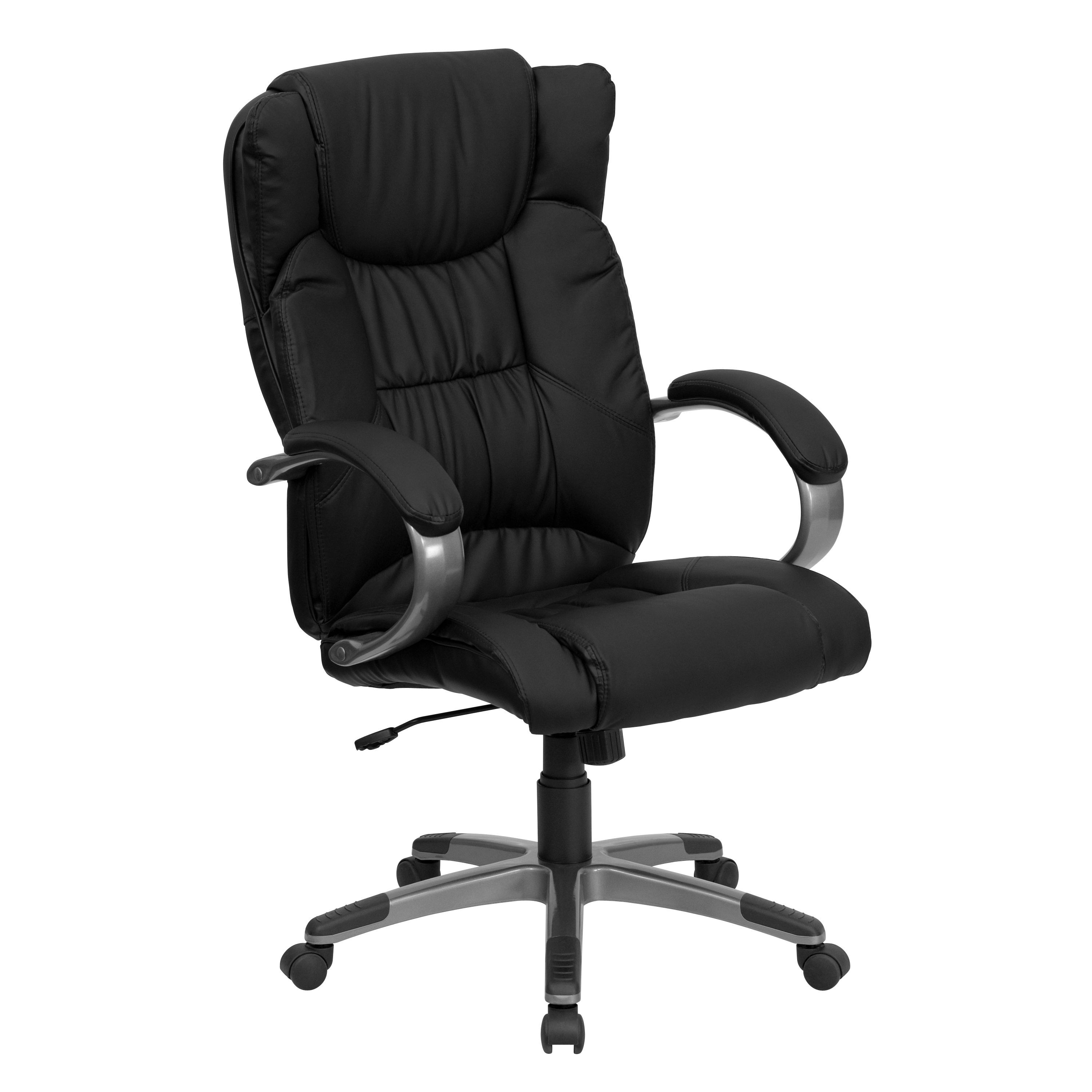 Flash Furniture BT-9088-BK-GG Black Leather High Back Executive Office Chair with arm rests