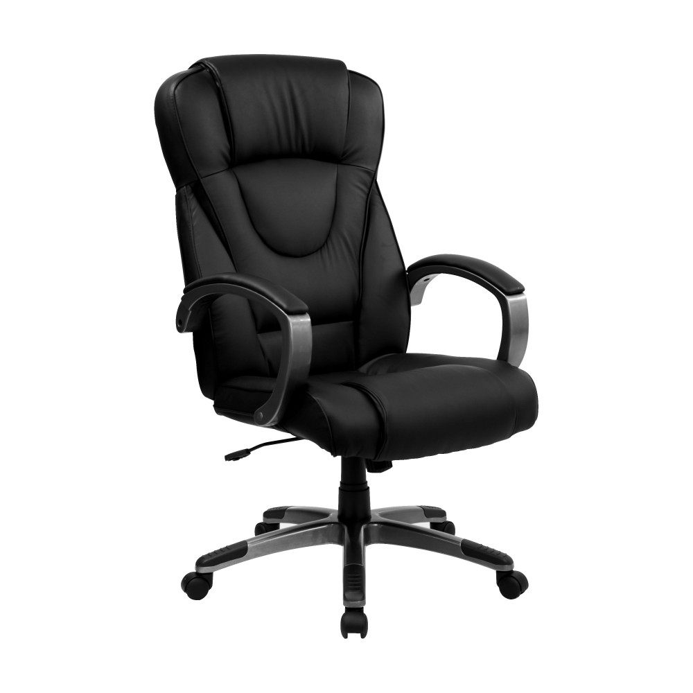 Flash Furniture BT-9069-BK-GG Black Leather High Back Office Chair