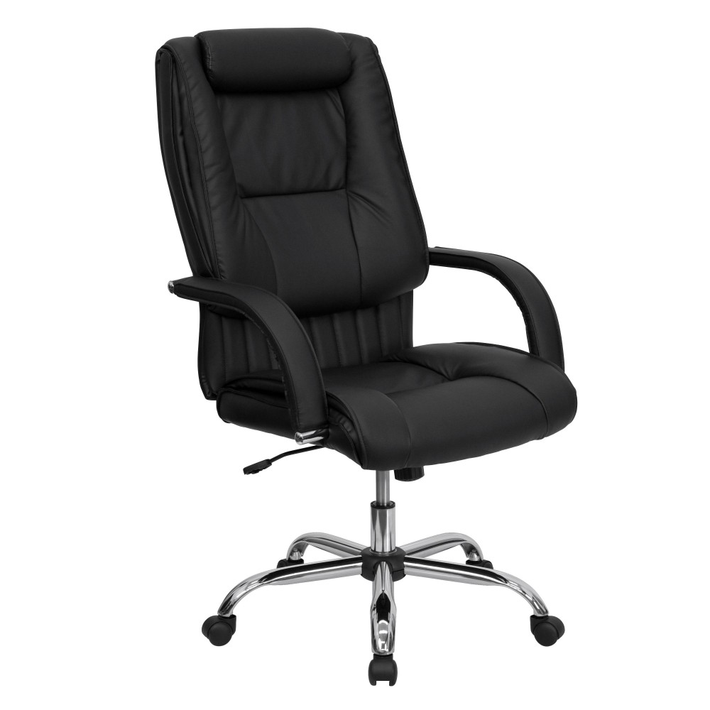 Flash furniture bt 9130 bk gg black leather high back for Home office chairs leather