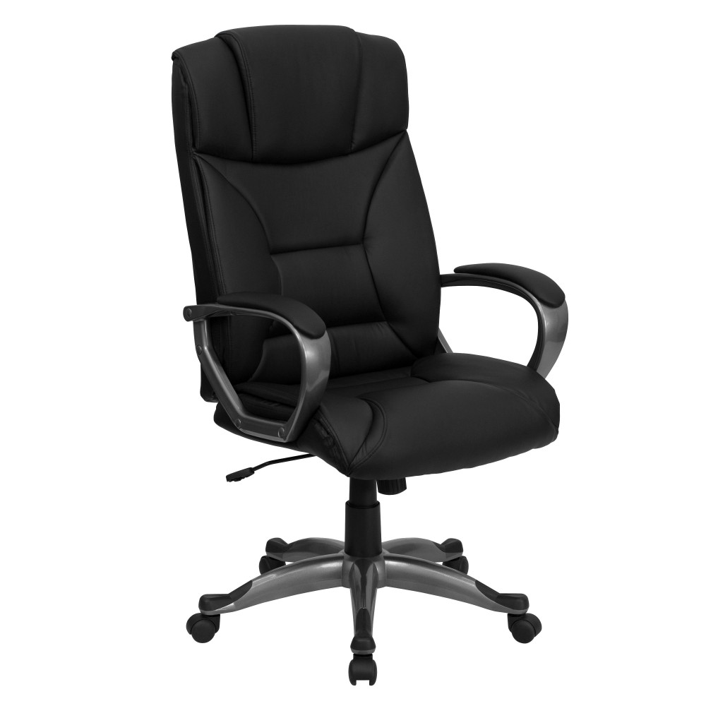 Black Leather High Back Executive Office Chair- Black
