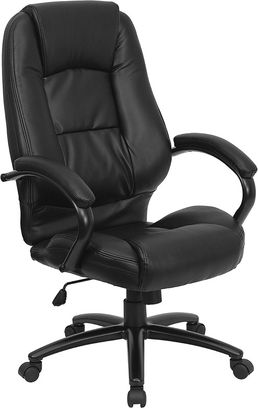 Flash Furniture GO-710-BK-GG Black Leather High Back Office Chair