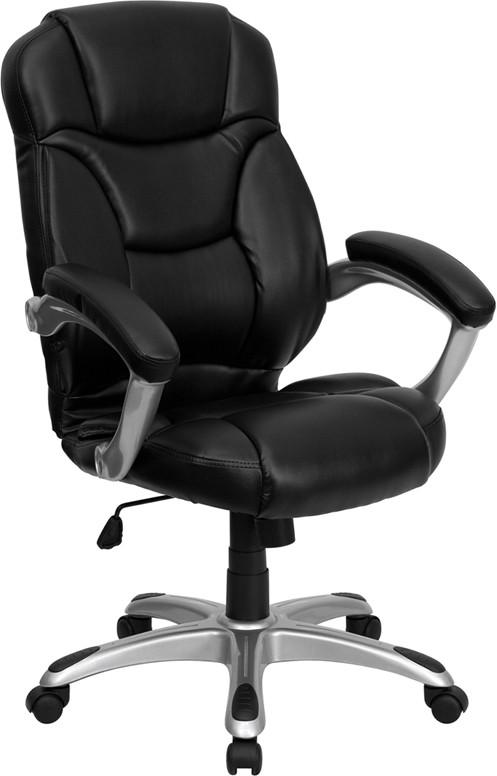 Flash Furniture GO-725-BK-LEA-GG Black Leather Office Chair, High Back