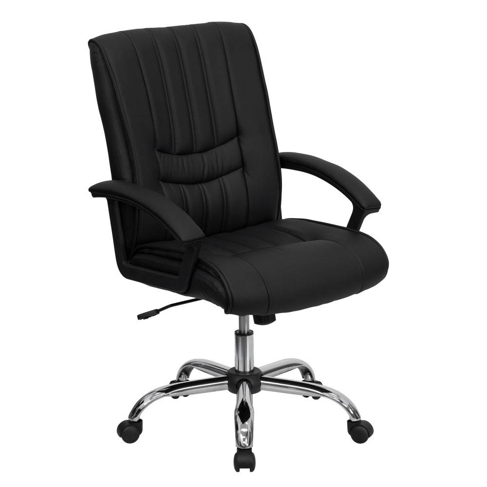 Flash Furniture BT-9076-BK-GG Black Leather Mid Back Leather Manager's Chair