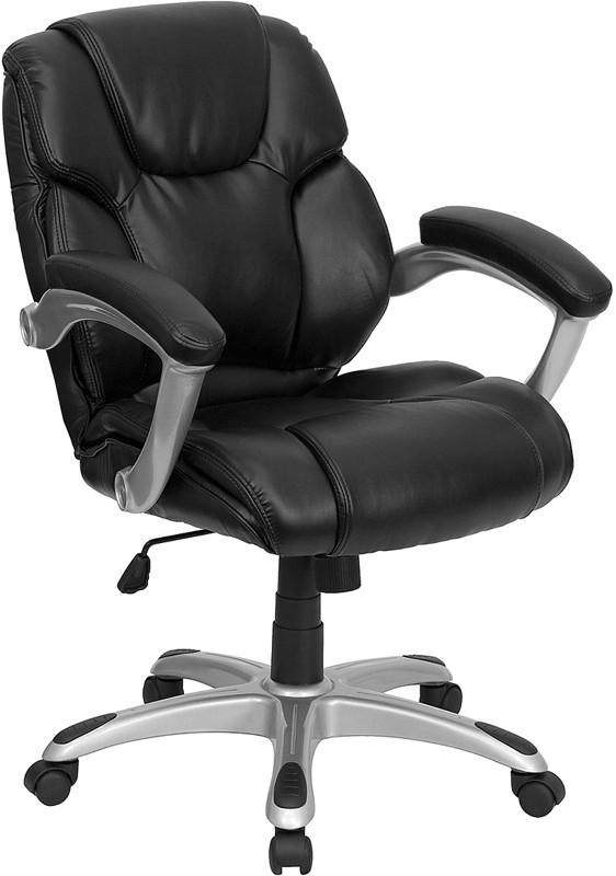 Flash Furniture GO-931H-MID-BK-GG Black Leather Mid Back Office Computer Chair