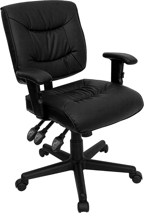 Black Leather Multi-Function Task Chair with Height Adjustable Arms