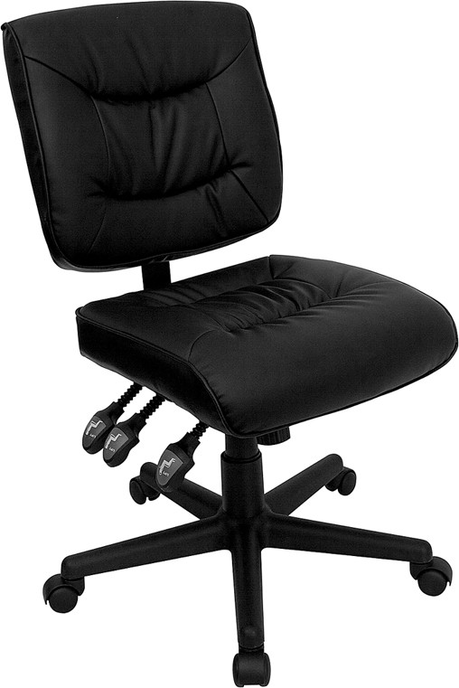 Black Leather Multi-Function Task Chair