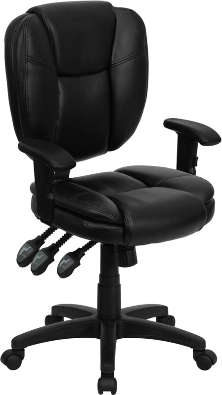 Flash Furniture GO-930F-BK-LEA-ARMS-GG Black Leather Multi Function Task Chair with Arms