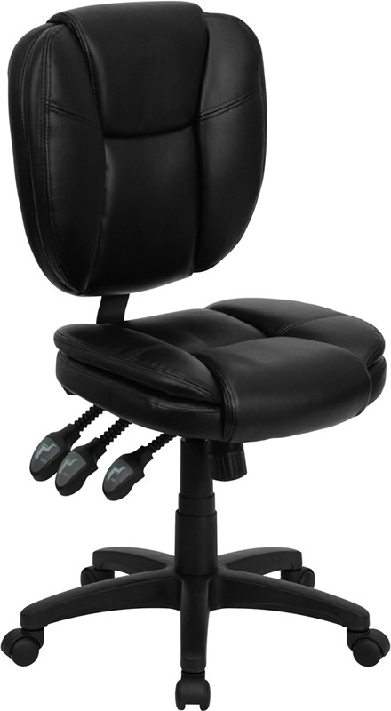Flash Furniture GO-930F-BK-LEA-GG Black Leather Multi Function Task Chair