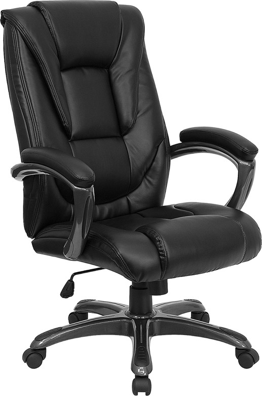 Flash Furniture GO-7194B-BK-GG Black Leather Office Chair