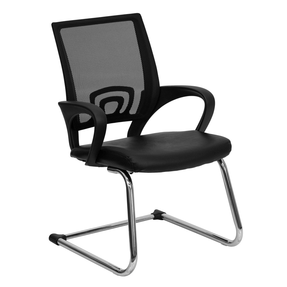 Flash Furniture CP-D119A01-BK-GG Black Leather Office Side Chair with Black Mesh Back and Sled Base