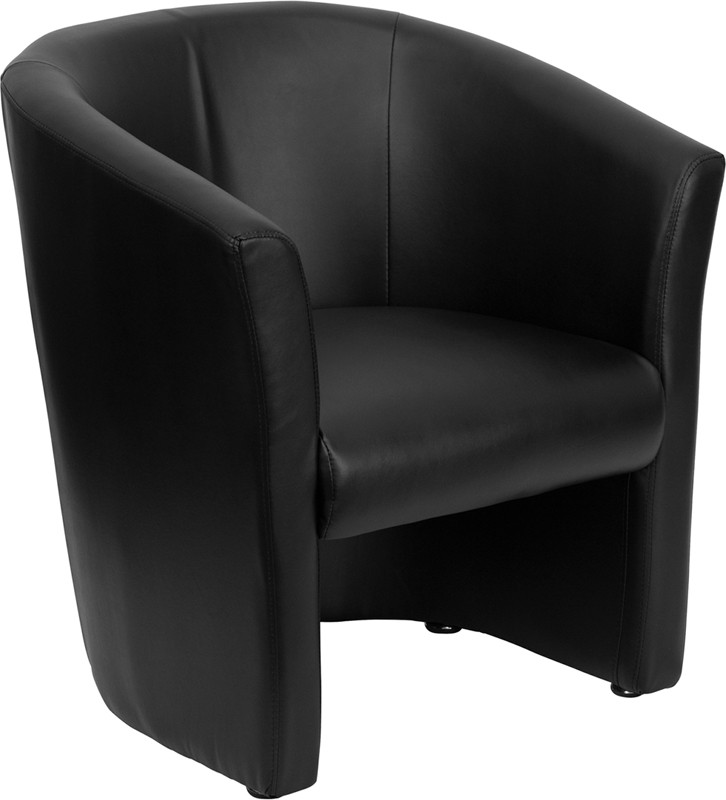 Flash Furniture GO-S-01-BK-QTR-GG Black Leather Barrel Shaped Reception Chair