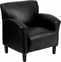 Black Leather Reception Chair, Black