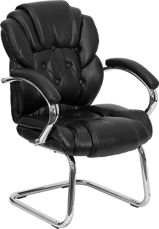 Flash Furniture GO-908V-BK-SIDE-GG Black Leather Transitional Side Chair with Sled Base