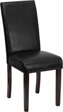 Flash Furniture BT-350-BK-LEA-023-GG Black Leather Upholstered Parsons Chair