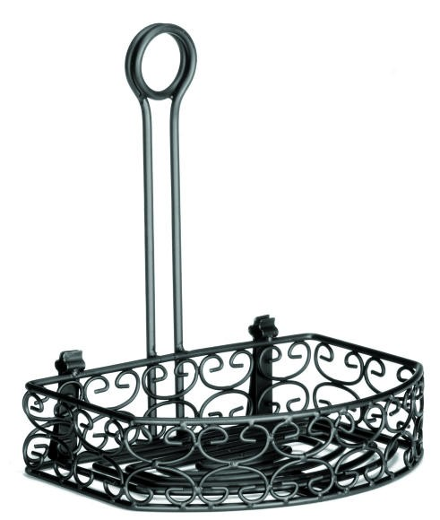 "TableCraft BK267912 Mediterranean Black Versa Condiment Half-Rack 8"" x 5-3/4"""