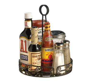 "TableCraft BK2780 Mediterranean Black Versa Round Condiment Rack 7.80"" Dia."