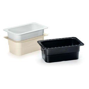 "G.E.T. Enterprises ML-28-BK Black Melamine 1/4 Size Food Pan, 4"" Deep"