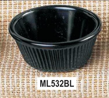 "Thunder Group ML532BL Black Melamine 4 oz. Fluted Ramekin 3-3/8"""