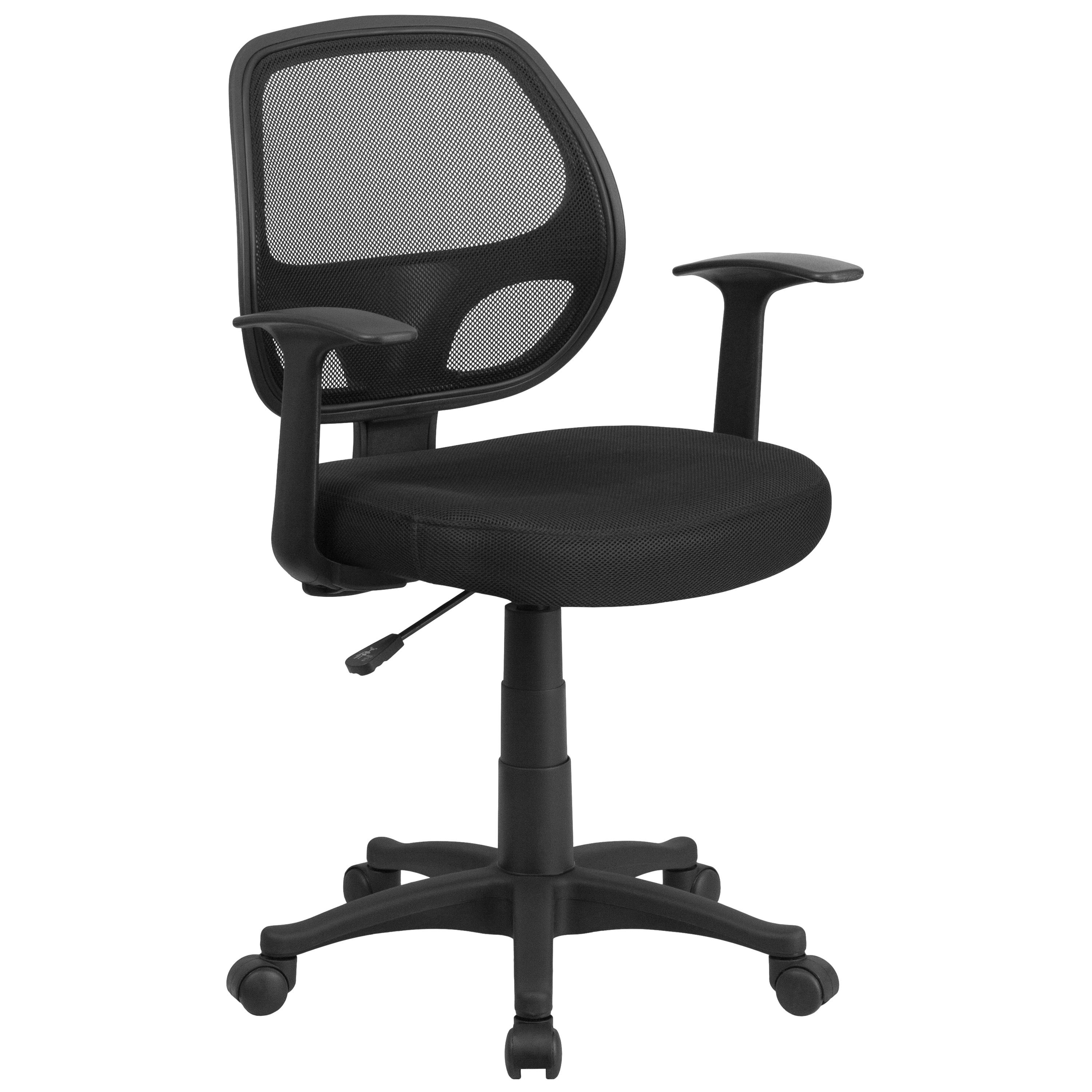 Flash Furniture LF-W-118A-BK-GG Mid-Back Black Mesh Swivel Task Chair