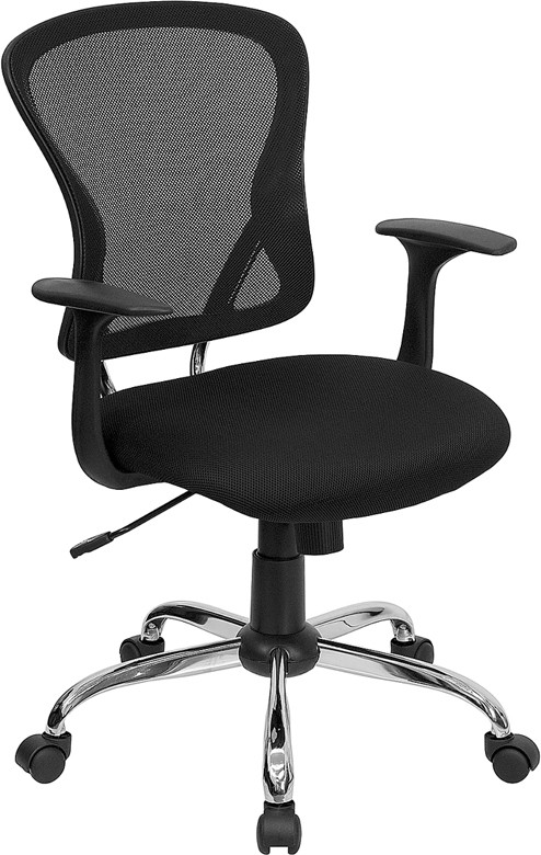 Flash Furniture H-8369F-BLK-GG Mid-Back Black Mesh Executive Office Chair with Chrome Base and Arms