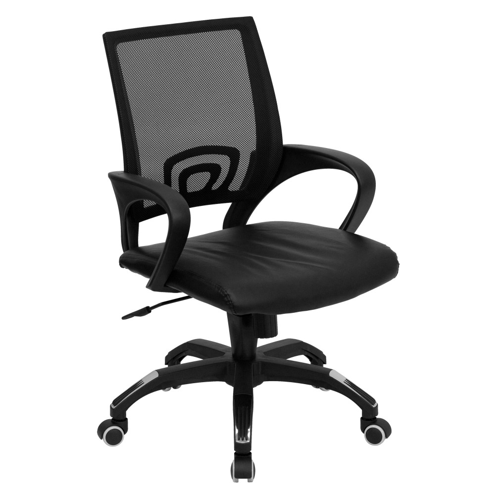 Black Mesh Office Chair with Black Leather Seat