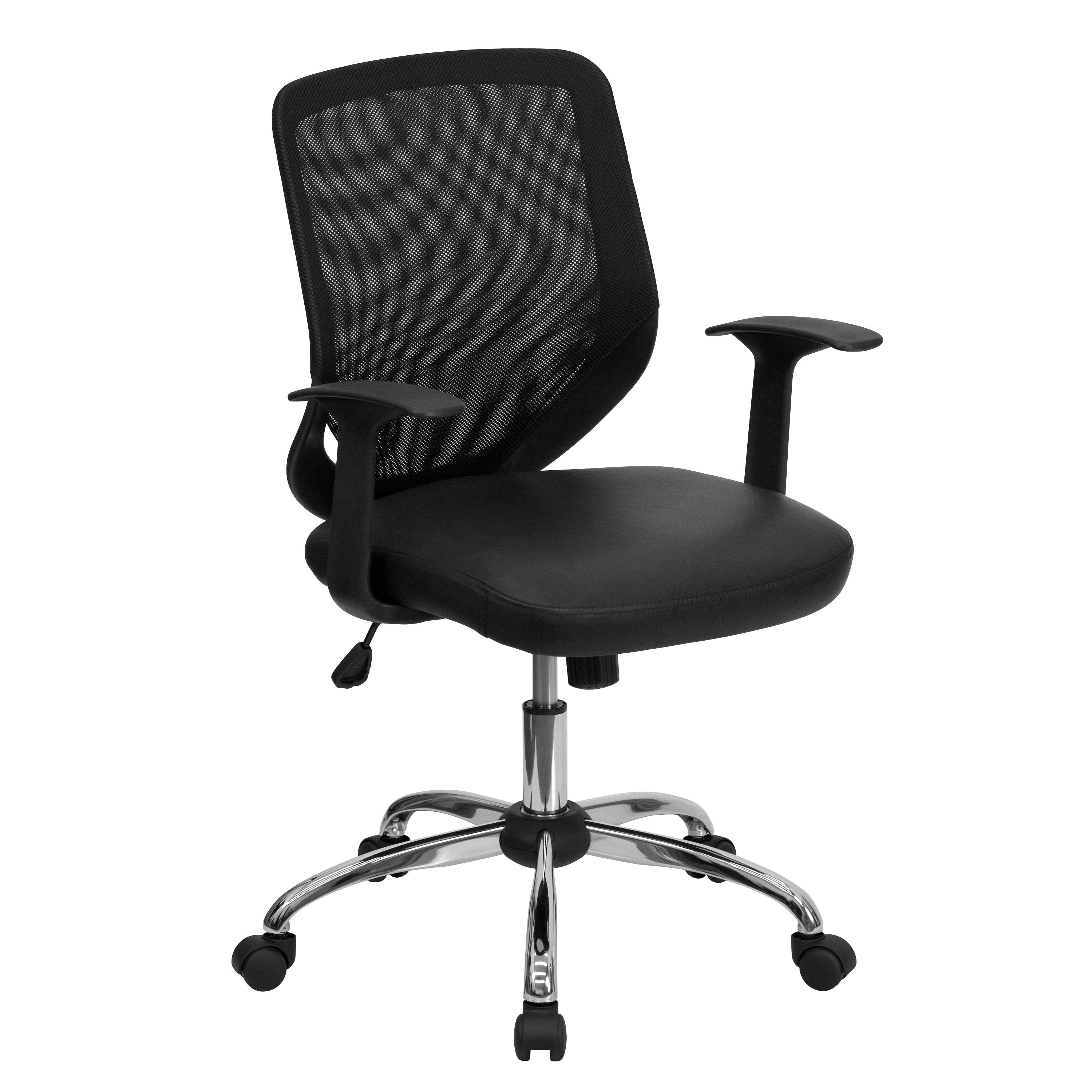 Flash Furniture LF-W95-LEA-BK-GG Black Mesh Office Chair with Mesh Back and Italian Leather Seat