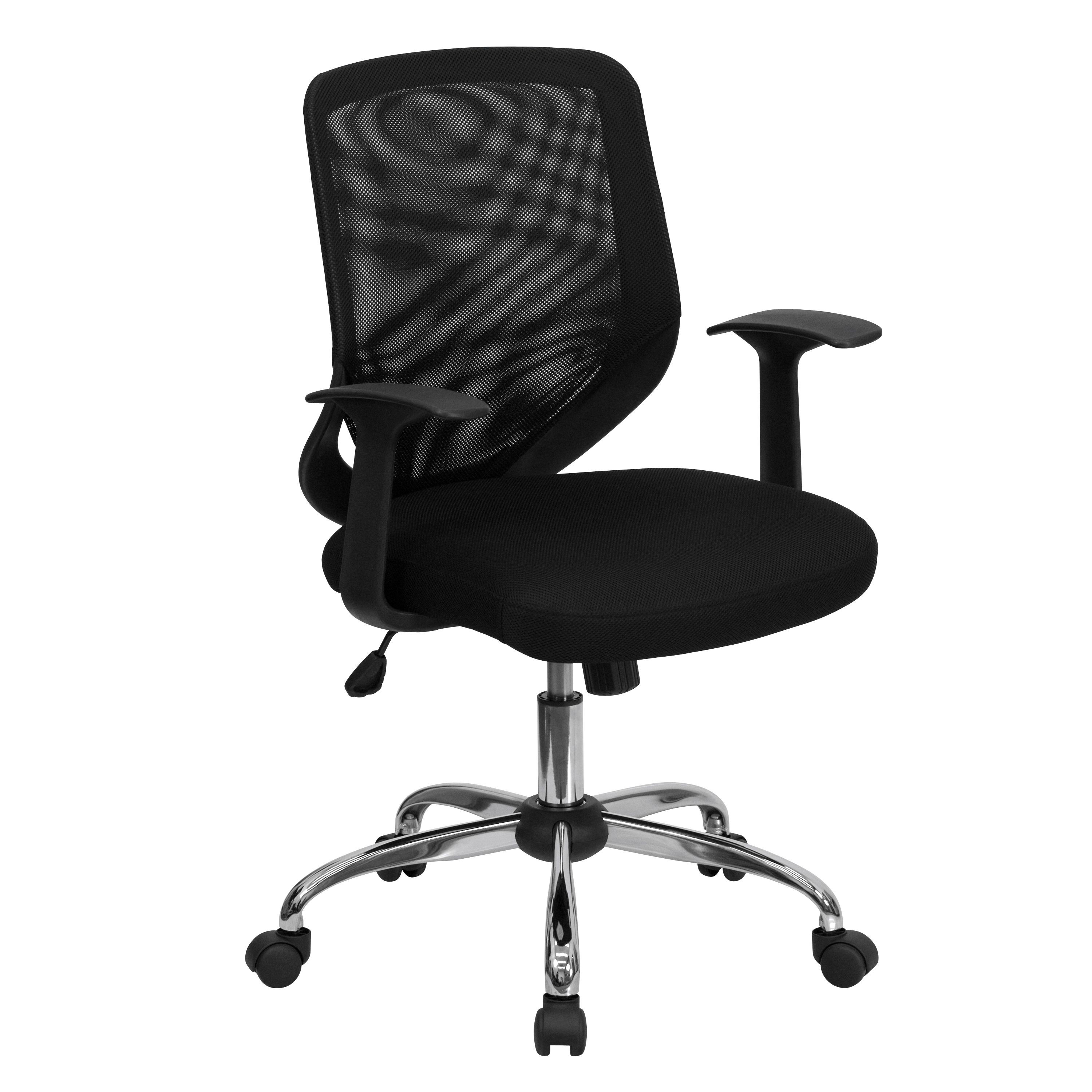 Flash Furniture LF-W95-MESH-BK-GG Black Mesh Office Chair with Mesh Fabric Seat