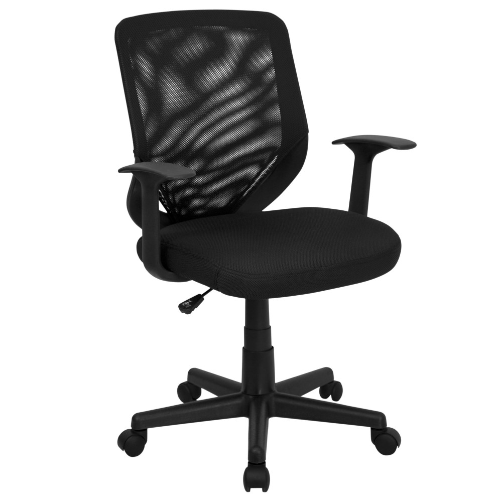 Flash Furniture LF-W-95A-BK-GG Mid Back Black Mesh Swivel Task Chair with Mesh Padded Seat