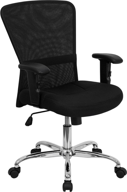 Flash Furniture GO-5307B-GG Black Mesh Office Computer Chair with Chrome Base