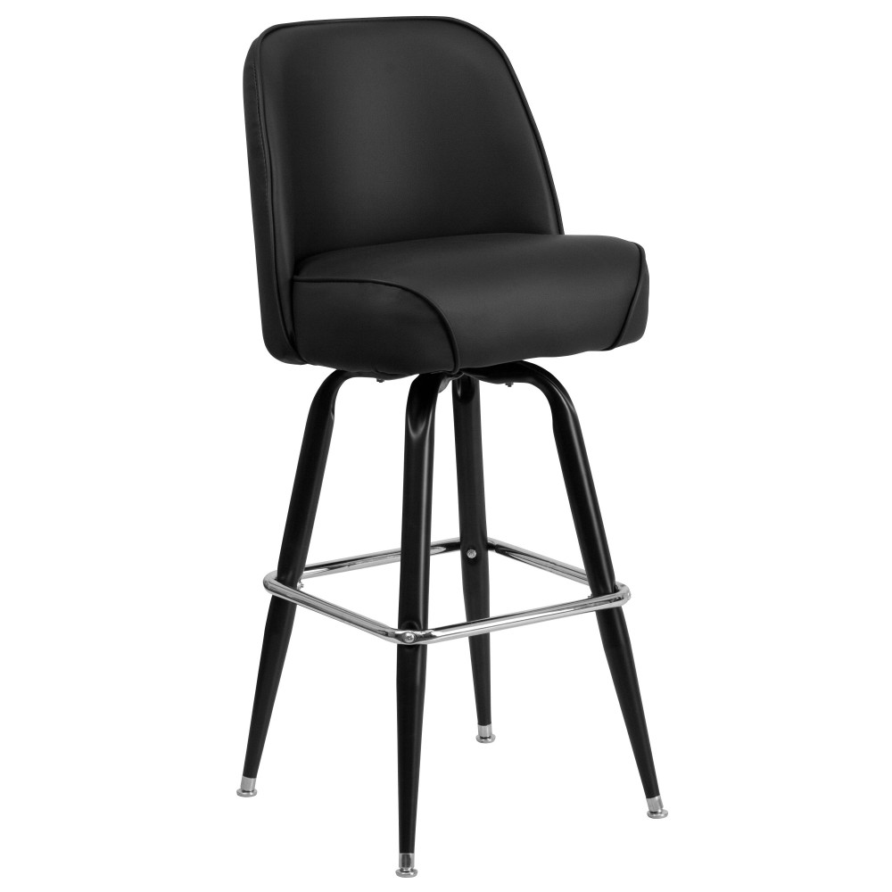 Flash Furniture XU-F-125-GG Black Metal Bar Stool with Swivel Bucket Seat