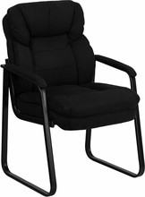 Flash Furniture GO-1156-BK-GG Black Micro Fiber Executive Side Chair with Sled Base