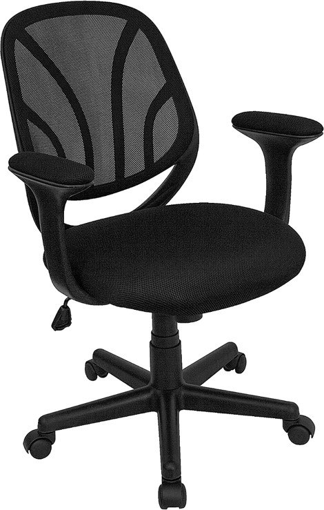 Black Mid Back Mesh Computer Task Chair with Arms