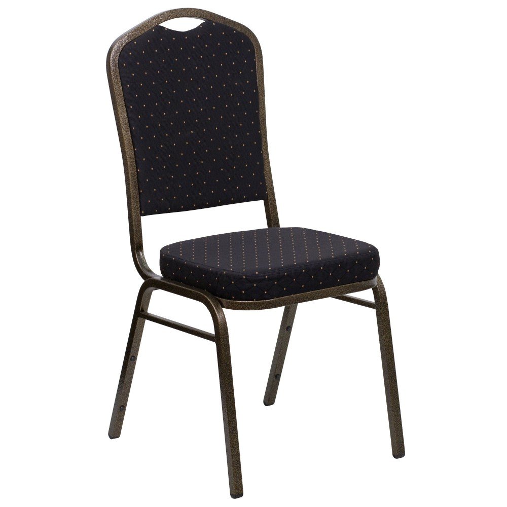 Flash Furniture fd-c01-Gold Vein-s0806-gg Black Patterned Crown Back HERCULES Banquet Chair/Gold Vein Frame
