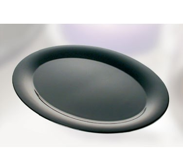 "Thunder Group RF2224BW Black Pearl Melamine Two-Tone Round Platter, 22"" x 16-1/2"""