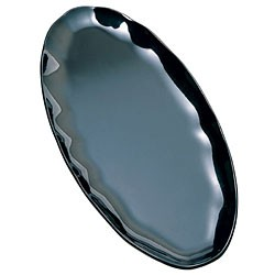 Black Pearl Scalloped Black Oval Platter - 30