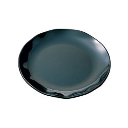 Black Pearl Scalloped Black Round Dinner Plate - 10-1/2