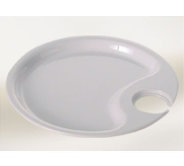 Black Pearl White Melamine Round Party Platter - 10-1/2