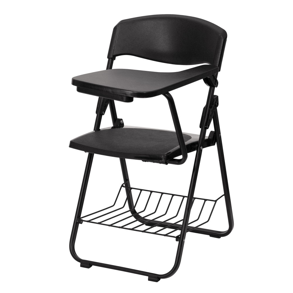 Black Plastic Chair with Left Handed Tablet Arm and Book Basket