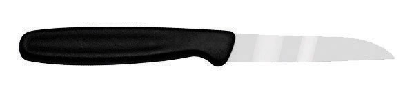 Black Plastic Handle Stainless Steel Paring Knives - 7-1/8