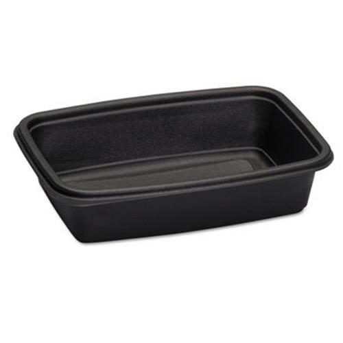 Black Plastic Microwave Safe Rectangle Container 32 oz., 300/Carton