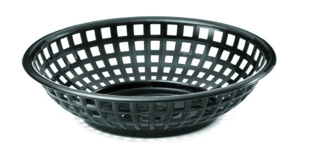 "TableCraft 1075BK Black Round Plastic Serving Basket 8"" x 2-3/8"""